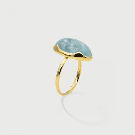 Natural Cabochon Aquamarine 18K Yellow Gold Statement Ring-AlmadiPietra