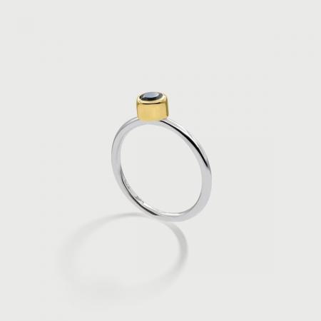 London Blue Topaz in 14K Gold bezel and Matt Finished 925 Silver shank Ring-AlmadiPietra