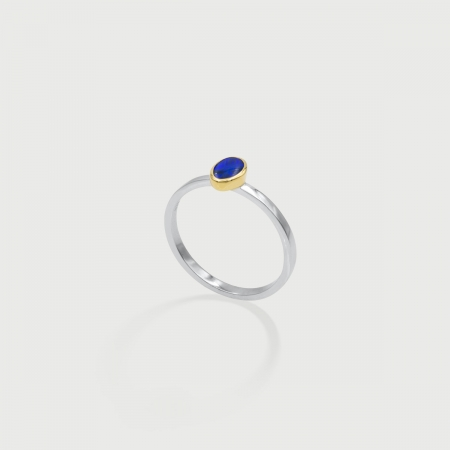Oval Opal in 14K Gold Bezel Silver Square band Ring, Unique Solitaire Ring, Two-Tone Ring-AlmadiPietra