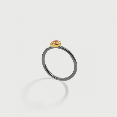 Orange Sapphire in 14K Gold bezel and Black Rhodium plated 925 Silver Shank Ring-AlmadiPietra