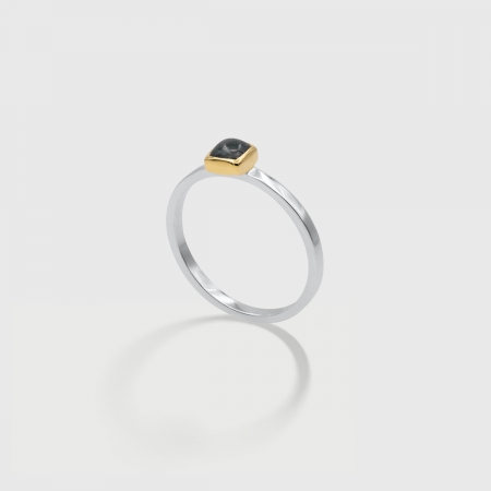 Blue Tourmaline in 14K Gold bezel and White Rhodium plated 925 Silver band Ring, Unique Solitaire Ring, Two-Tone Ring-AlmadiPietra