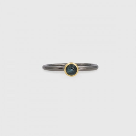 Blue Tourmaline in 14K Gold bezel and Black Rhodium plated 925 Silver band Ring, Unique Solitaire Ring, Gold and Silver Ring, Two-Tone Ring-AlmadiPietra