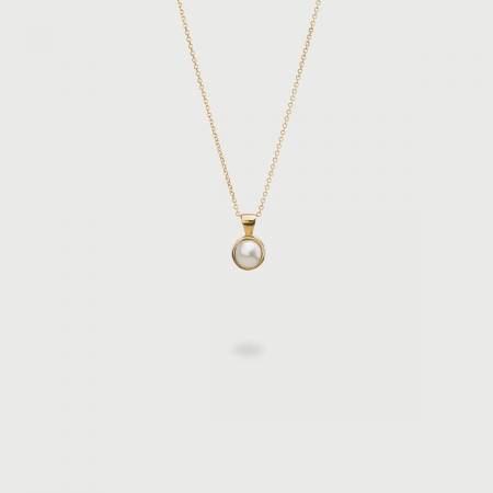 Freshwater White Pearl pendant  in 14K Gold-AlmadiPietra
