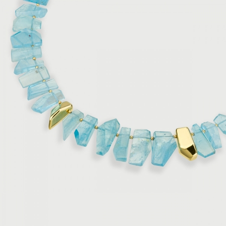 Rough Aquamarine Necklace with 18K Yellow Gold Elements-Alma diPietra