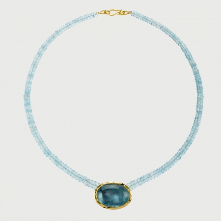 Cabochon Aquamarine and Diamonds Necklace in 18K Yellow Gold-AlmaDiPietra