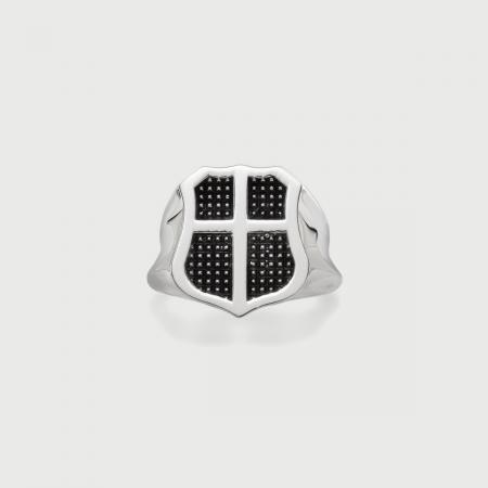 Signet Oxidized Silver Ring for Men-AlmaDiPietra